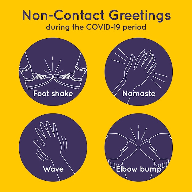 Non-contact greetings during covid19 Free Vector
