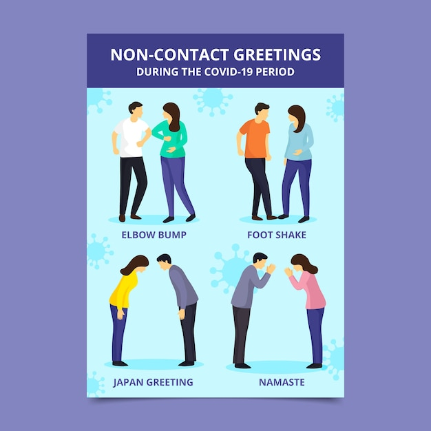 Non-contact greetings exemplification Free Vector
