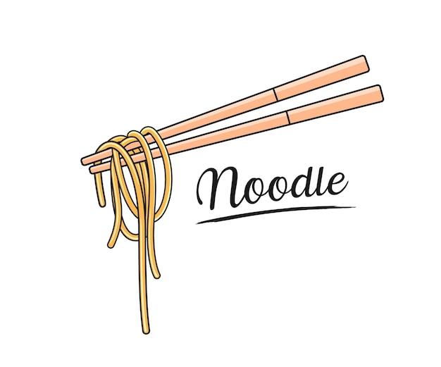 麺と箸 Premiumベクター