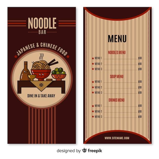 Noodle bar menu Free Vector