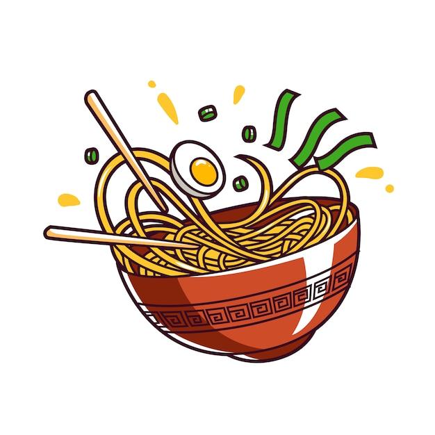 Noodle bowl asia food Premium Vector