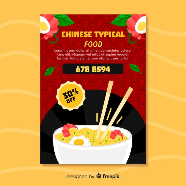 Noodle chinese food flyer Free Vector