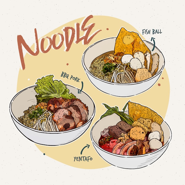 Noodle collection thai food hand draw sketch Premium Vector