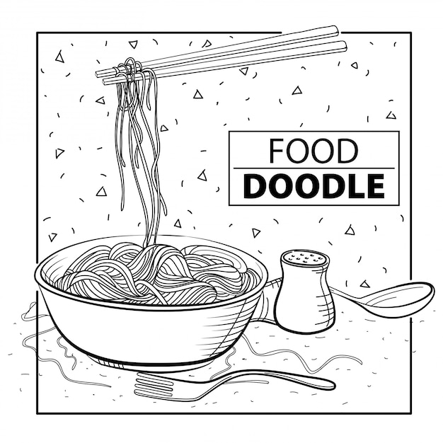 Noodle doodle food. black and white. freehand Premium Vector