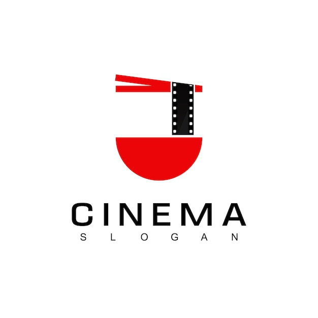 Noodle film for culinary movie logotemplat Premium Vector