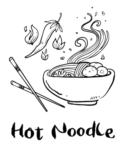 Noodle hand drawn Premium Vector