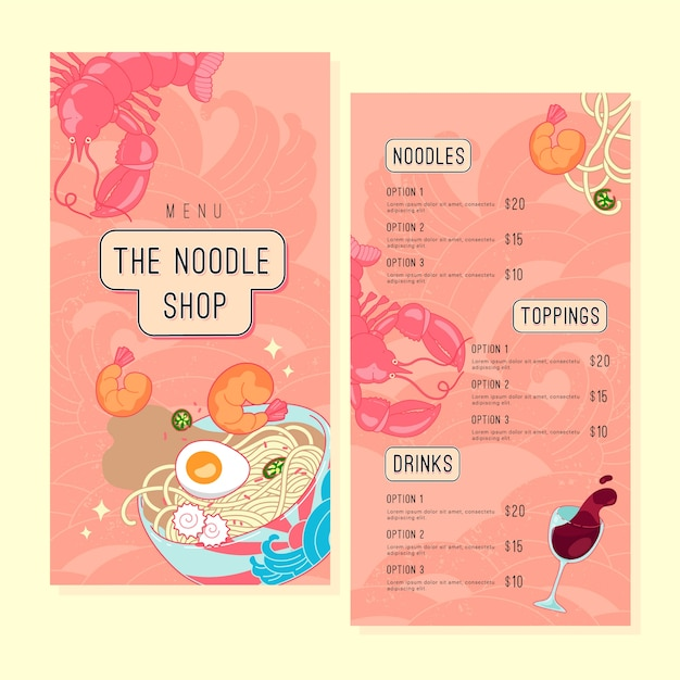 Noodle restaurant menu template set Premium Vector
