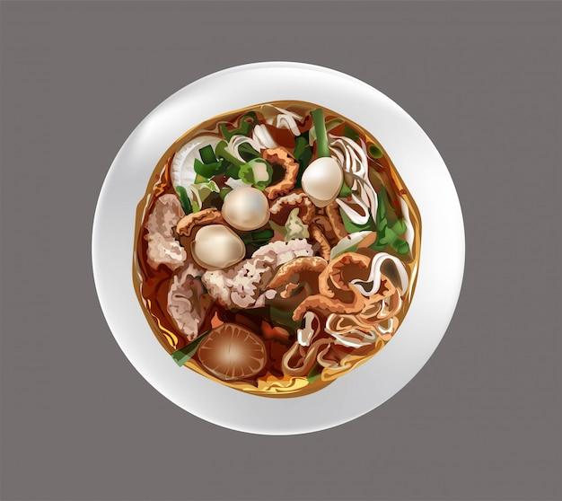 タイのヌードルスープ Premiumベクター