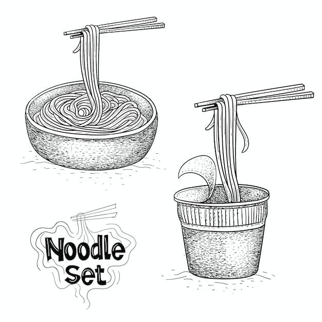 麺ベクトルコレクション、手描きイラストの食べ物イラスト Premiumベクター