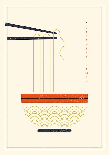 Noodles on chopsticks poster template Free Vector