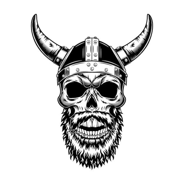발 정된 헬멧 벡터 일러스트 레이 션에 북유럽 나이트 해골입니다. 스칸디나비아 전사의 흑백 머리, 수염을 가진 바이킹 무료 벡터