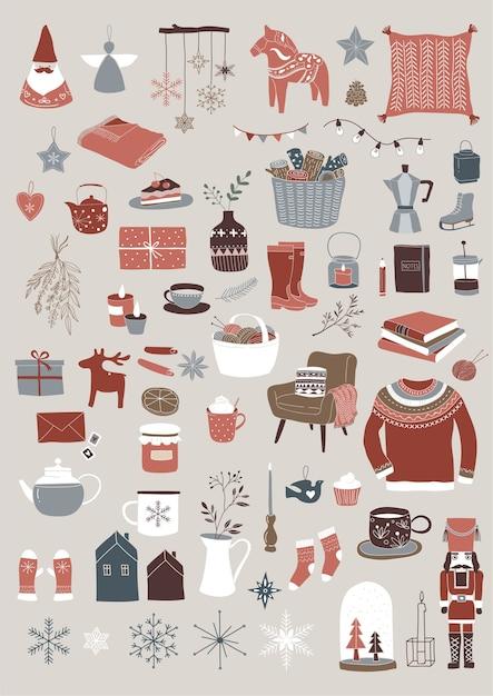 北欧、スカンジナビアの冬の要素とヒュッゲのコンセプトデザイン、メリークリスマスセット Premiumベクター