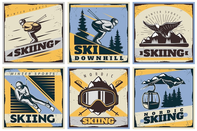 Set di illustrazione di sci nordico Vettore gratuito