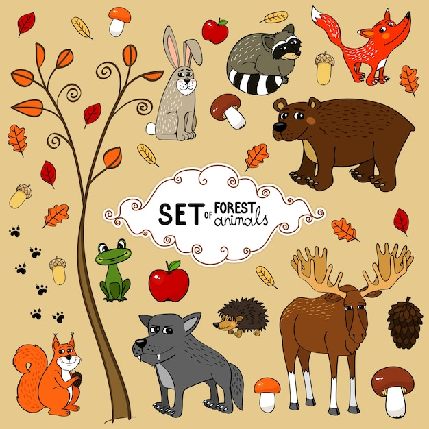 North forest animals Free Vector