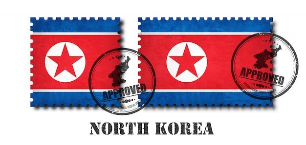 North korea flag pattern postage stamp Premium Vector