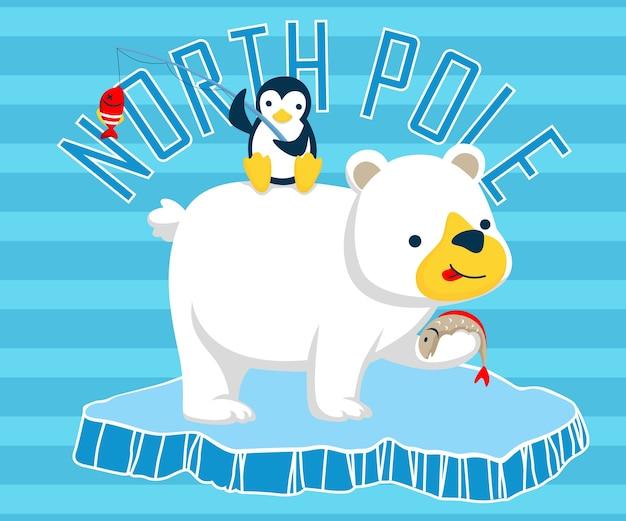 North pole animals cartoon Premium Vector