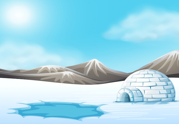 North pole and igloo landscape Premium Vector