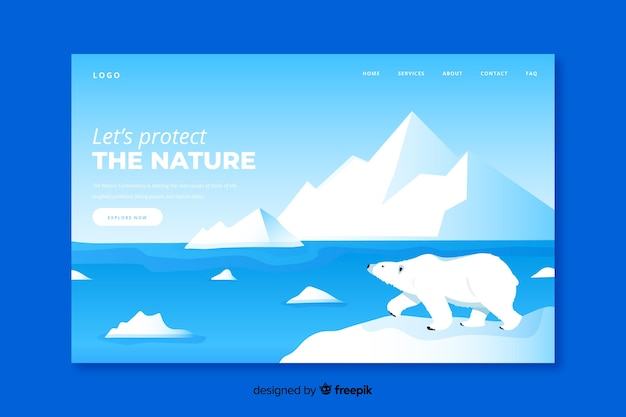 North pole landing page flat design Free Vector