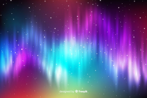 Northern background with light waves Free Vector