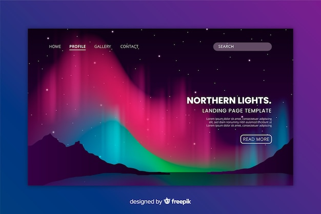 Northern lights colourful landing page template Free Vector