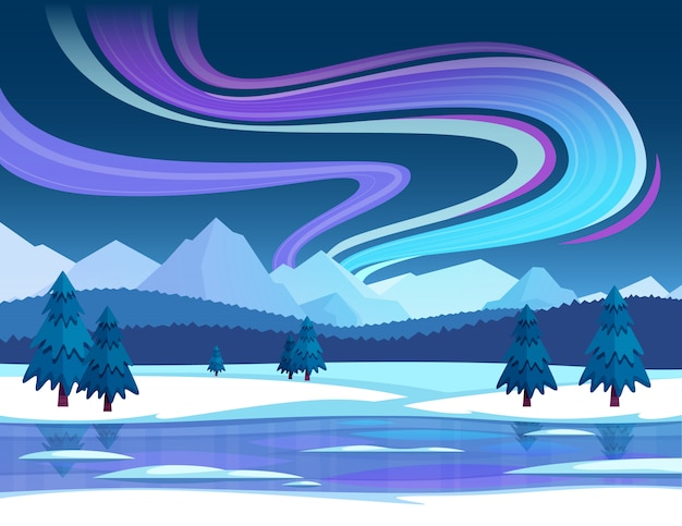 Northern lights illustration Free Vector