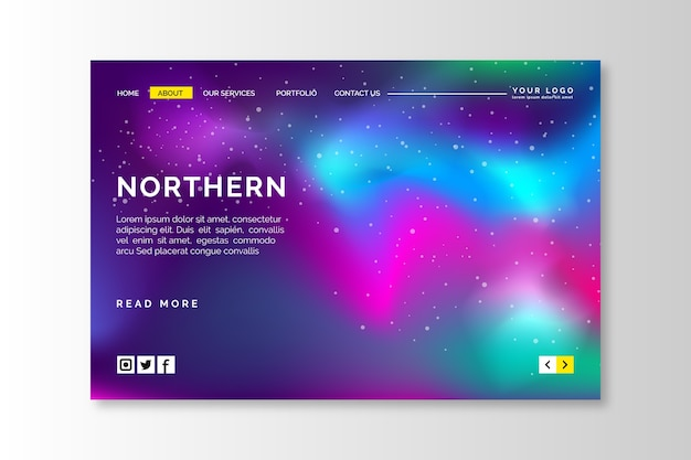 Northern lights landing page template Free Vector