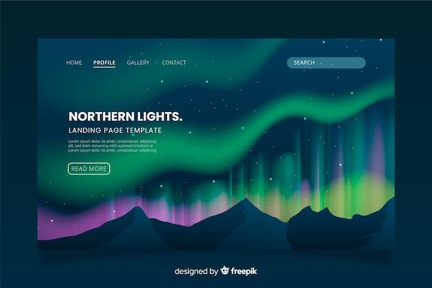Modello di landing page dell'aurora boreale Vettore gratuito
