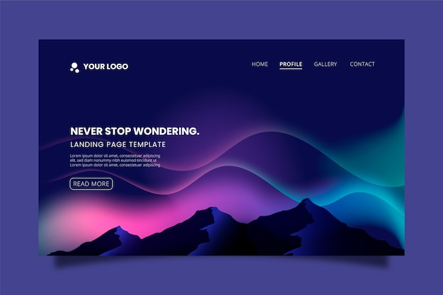 Northern lights landing page Free Vector