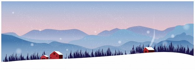 Northern nature winter landscape background with mountain. Premium Vector
