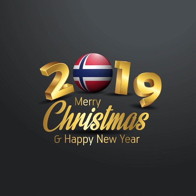 Merry Christmas In Norwegian.Norway Flag 2019 Merry Christmas Typography Vector Premium