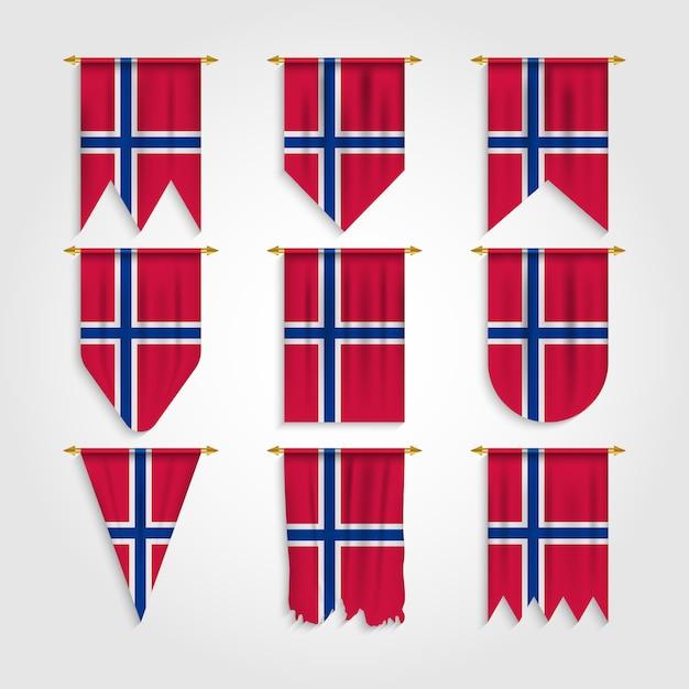 Norway flag in various shapes Premium Vector