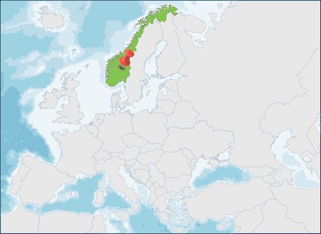 Norway location on europe map Premium Vector