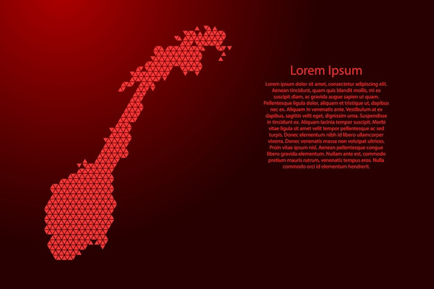 Norway map abstract schematic from red triangles Premium Vector