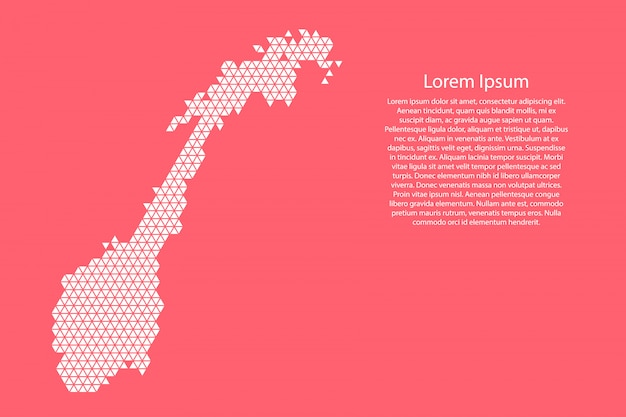 Norway map abstract schematic from white  triangles Premium Vector