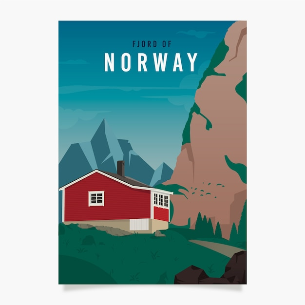 Norway promotional poster template Free Vector