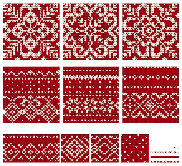 Norwegian star knitting patterns Premium Vector