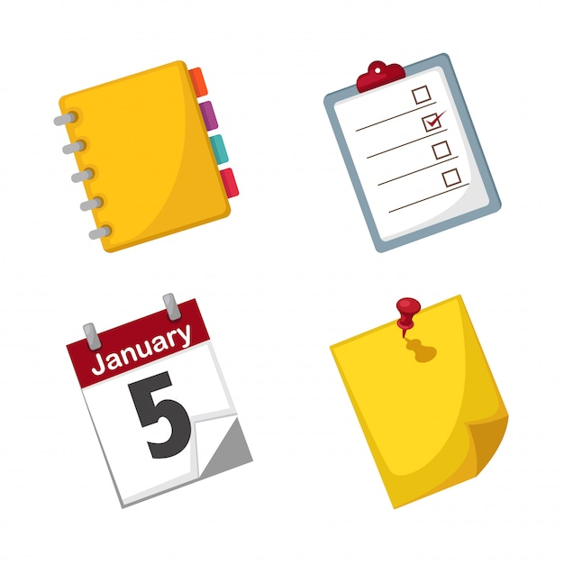Note paper and calendar set vector Premium Vector