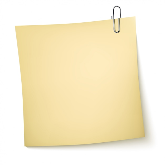 Note paper with paperclip on white Premium Vector