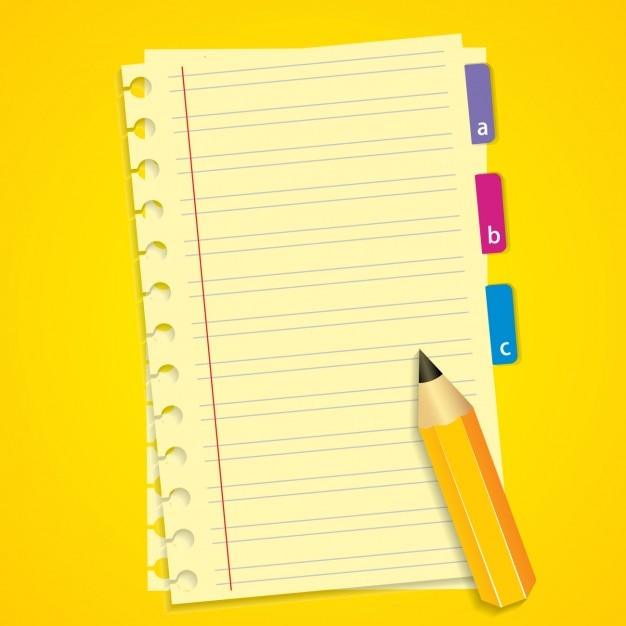 Notebook and Pencil Background Vector – Yellow Notebook Paper Background
