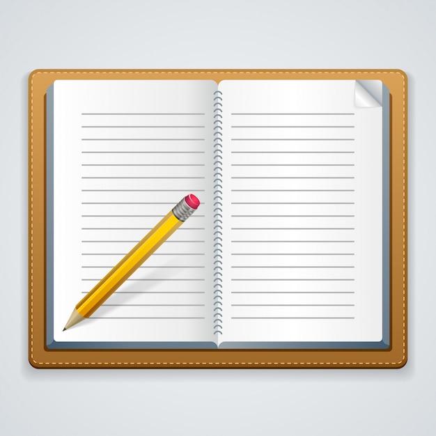 ノートと白い背景の上の鉛筆。 Premiumベクター