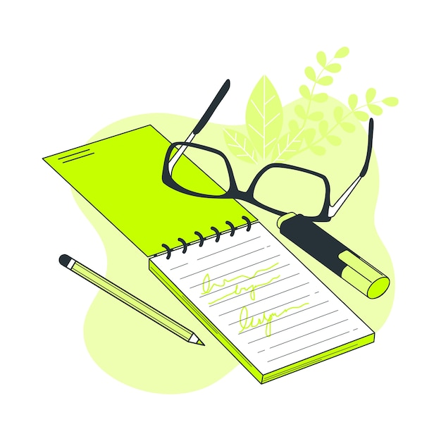 Notebook concept illustration Free Vector