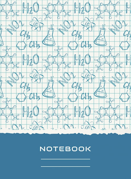 Notebook cover design. vector chemical background. Premium Vector