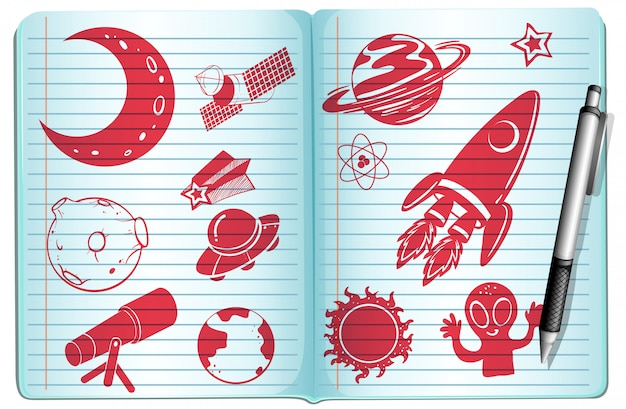Notebook full with science symbols Free Vector