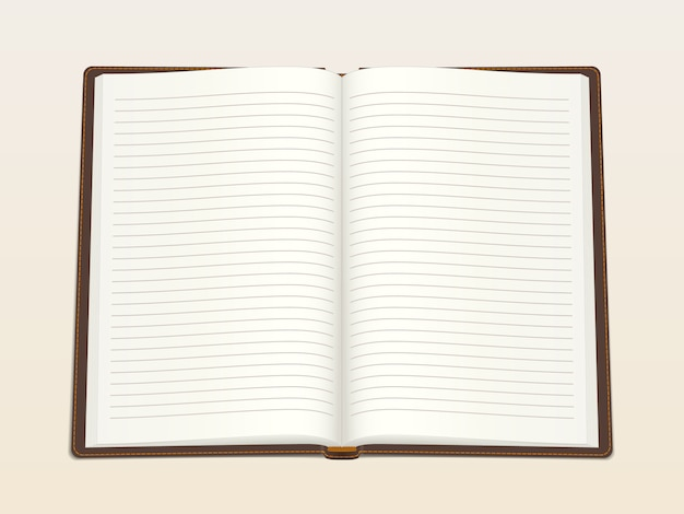 Notebook, opened in the middle. realistic vector illustration. Premium Vector