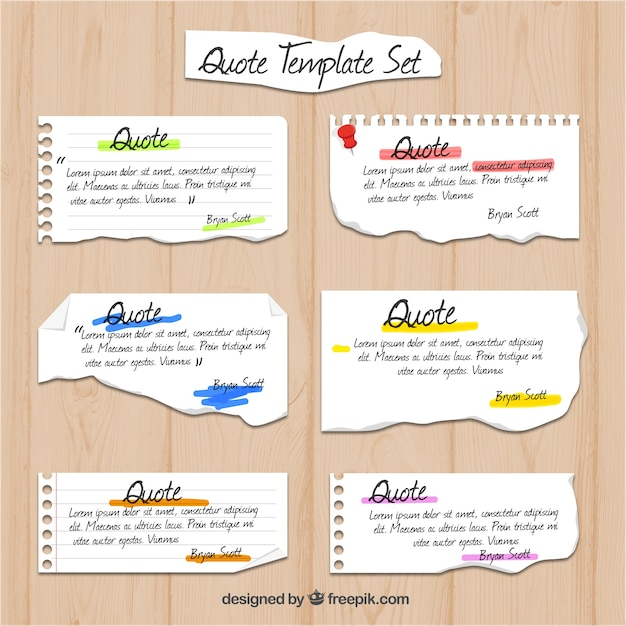 Notebook Paper Quote Templates Vector | Free Download
