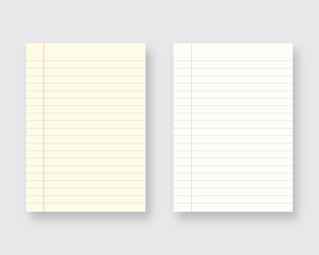 Notebook paper set. sheet of lined paper Premium Vector