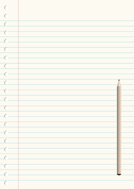 Notebook Paper With Pencil Vector  Premium Download