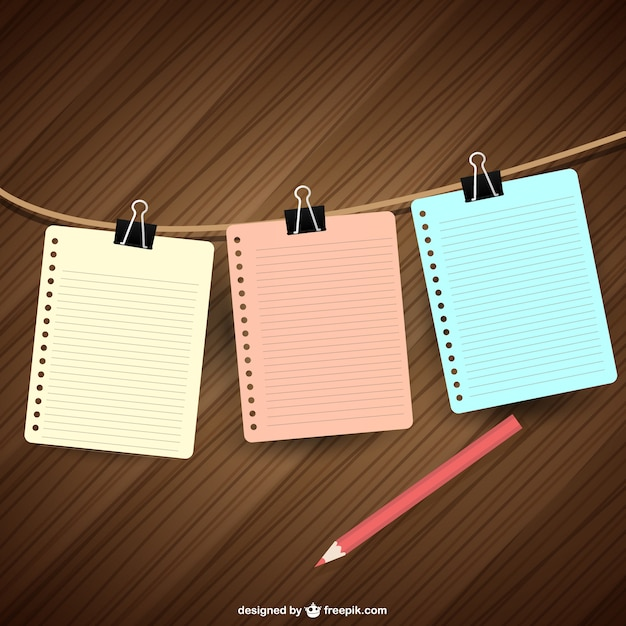 Notebook papers hanging Vector – Notebook Paper Download