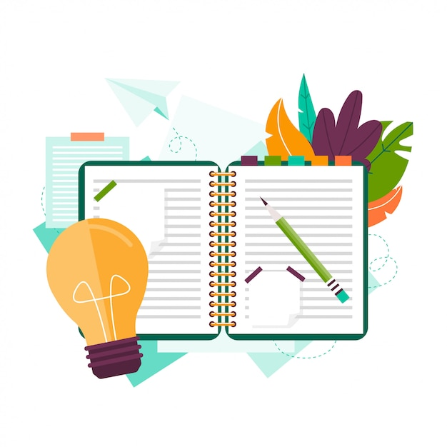 Notebook, pencil and stickers. search for ideas. inspiration. notebook for ideas. Premium Vector