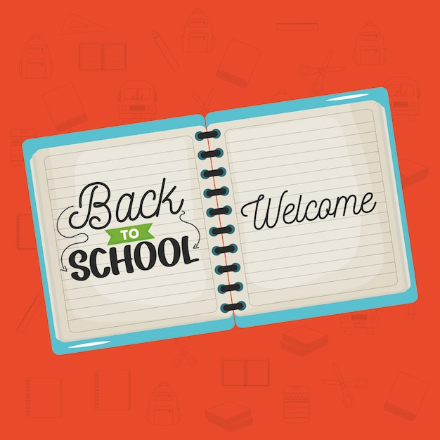 Notebook school with back to school message Vector | Free